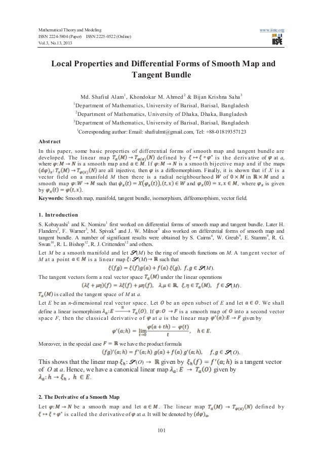 Local properties and differential forms of smooth map and tangent bundle