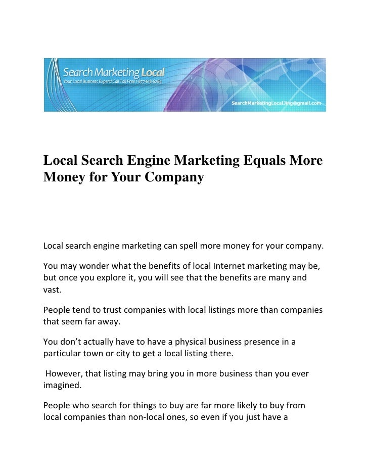 Local Search Engine Marketing Equals MoreMon...
