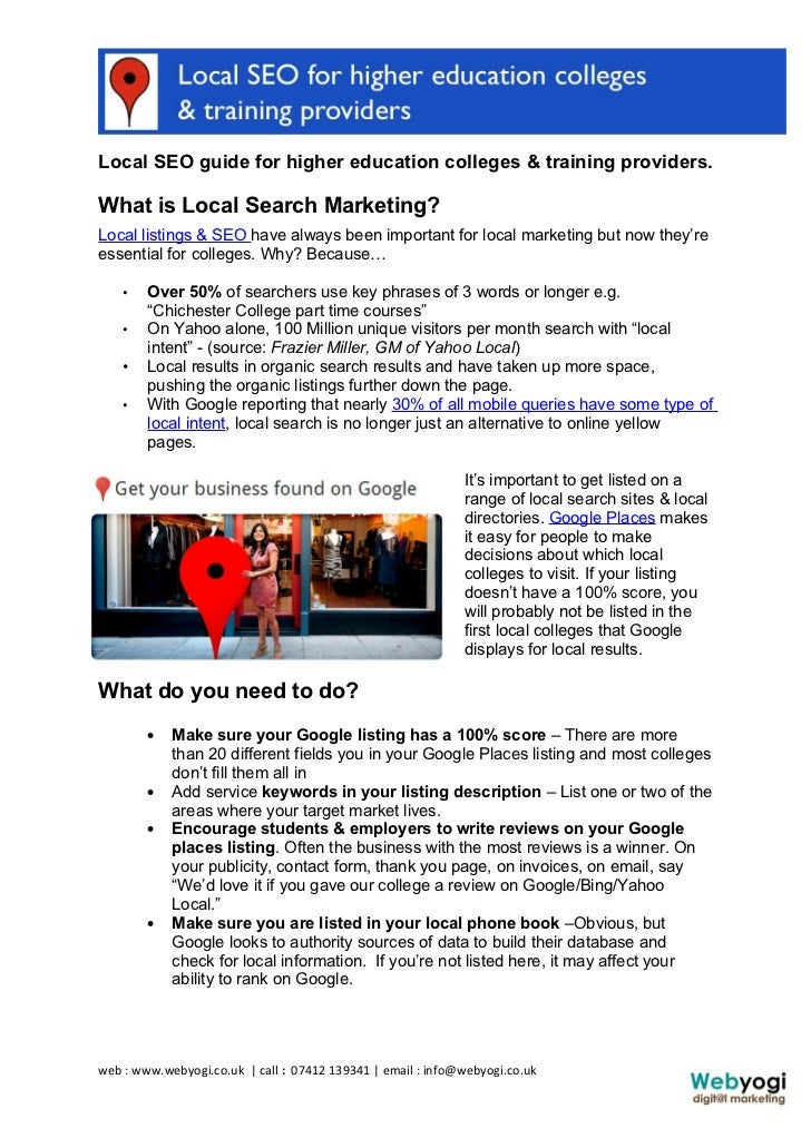 Local SEO guide for higher education colleges & training providers.What is Local Search Marketing?Local listings & SEO hav...
