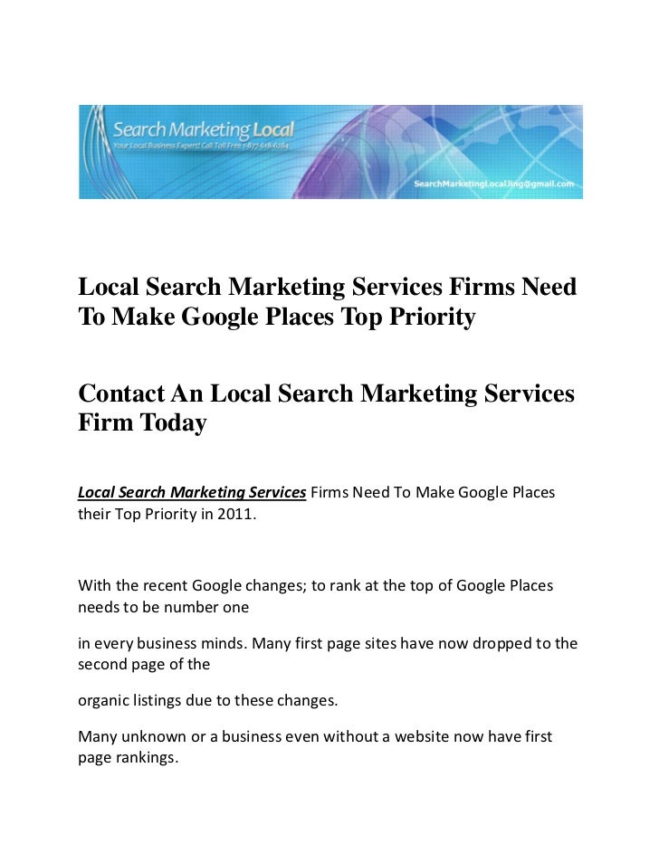 Local Search Marketing Services Firms Need To Make Google Places Top Priority