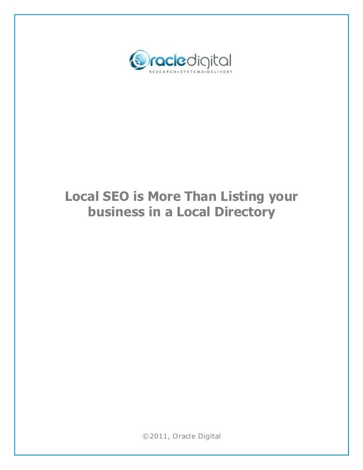 Local seo is more than listing your business in a local directory
