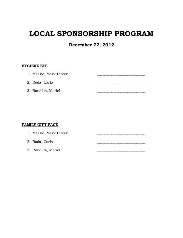 Local sponsorship program