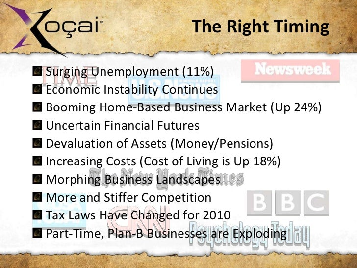 The Right TimingSurging Unemployment (11%)Economic Instability ContinuesBooming Home-Based Business Market (Up 24%)Uncerta...