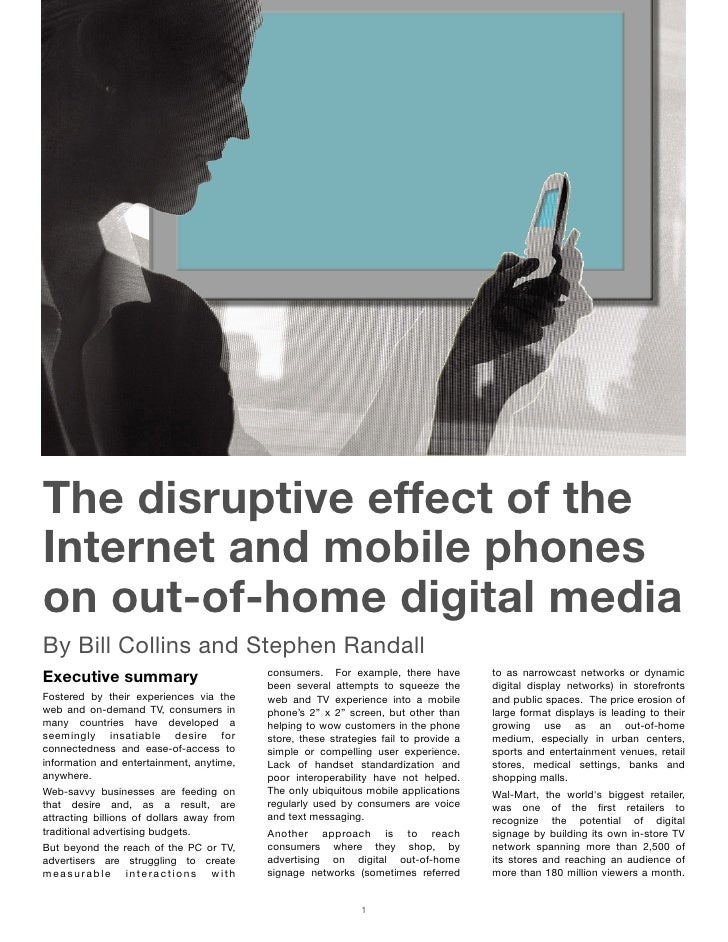 The Disruptive Effect of the Internet and Mobile Phones on Out-of-Home Digital Media, October 2006
