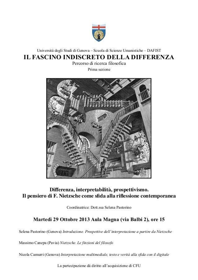 Università degli Studi di Genova – Scuola di Scienze Umanistiche – DAFIST  IL FASCINO INDISCRETO DELLA DIFFERENZA Percorso...