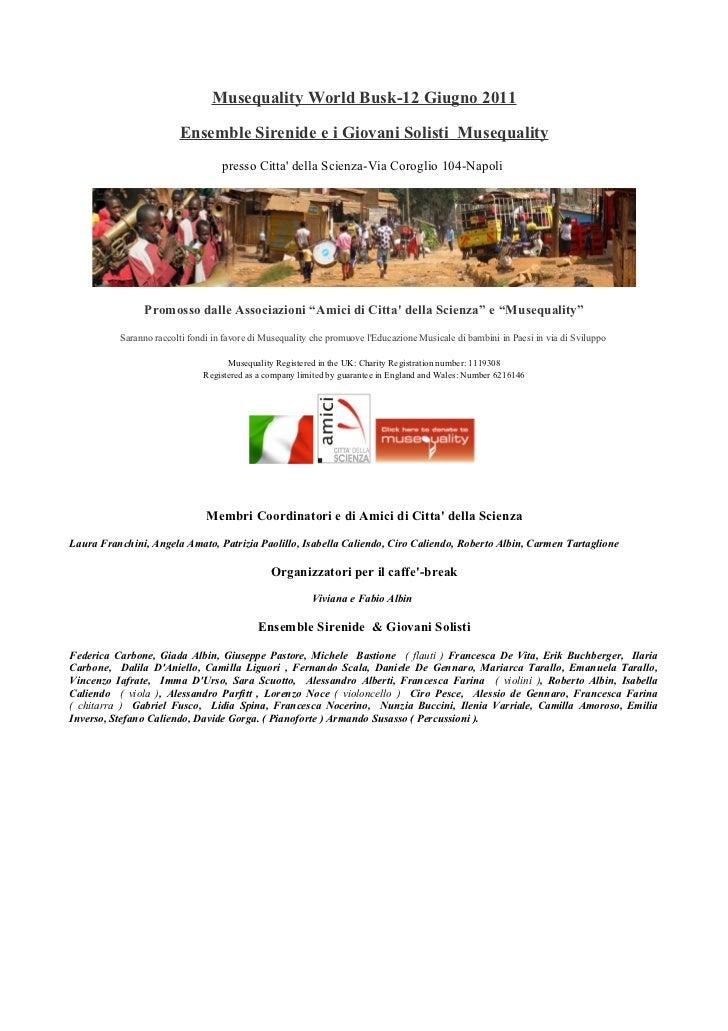 Locandina  Concerto  Musequality  World  Busk 2011