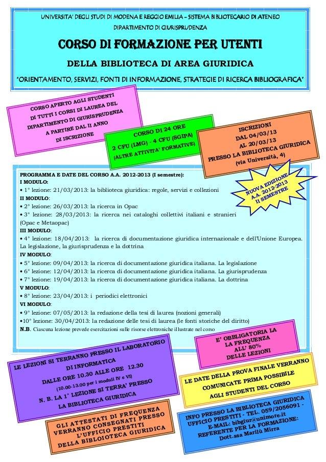 Corso 2012/13 - Locandina