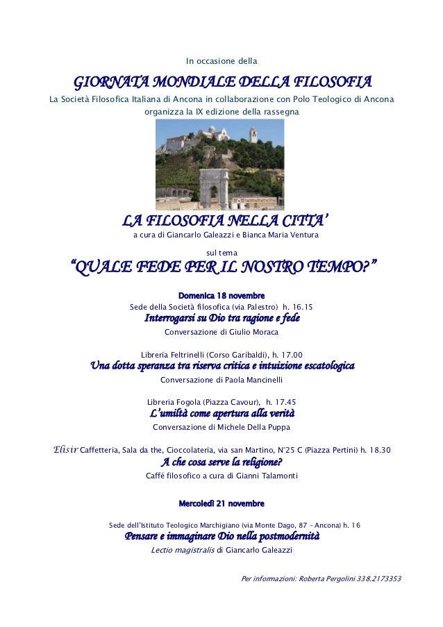 In occasione della     GIORNATA MONDIALE DELLA FILOSOFIALa Società Filosofica Italiana di Ancona in collaborazione con Pol...