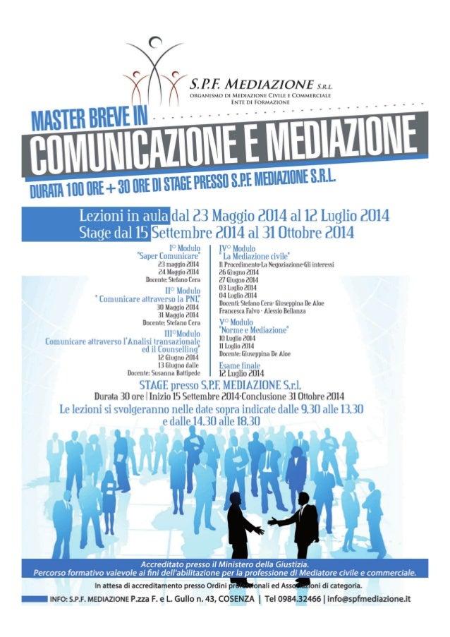Locandina master comunicazione e mediazione_SPF Mediazione
