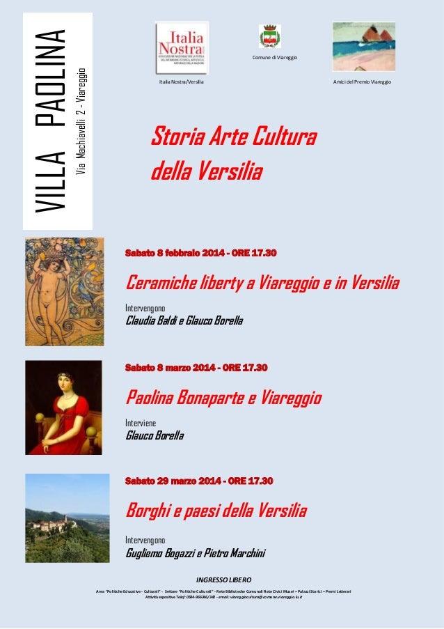 Locandina storia arte e cultura della Versilia