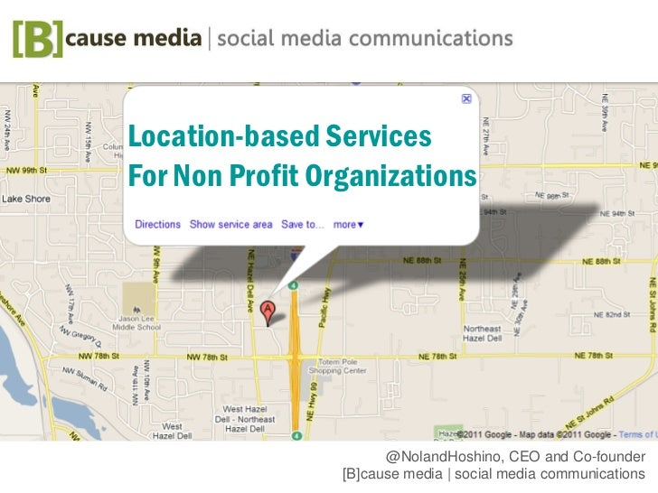 Location based services for nonprofit organizations