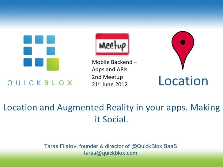 Mobile Backend –                           Apps and APIs                           2nd Meetup                           21...