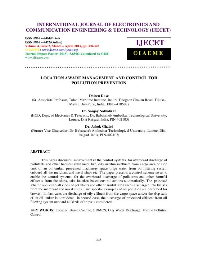 Location aware management and control for pollution prevention