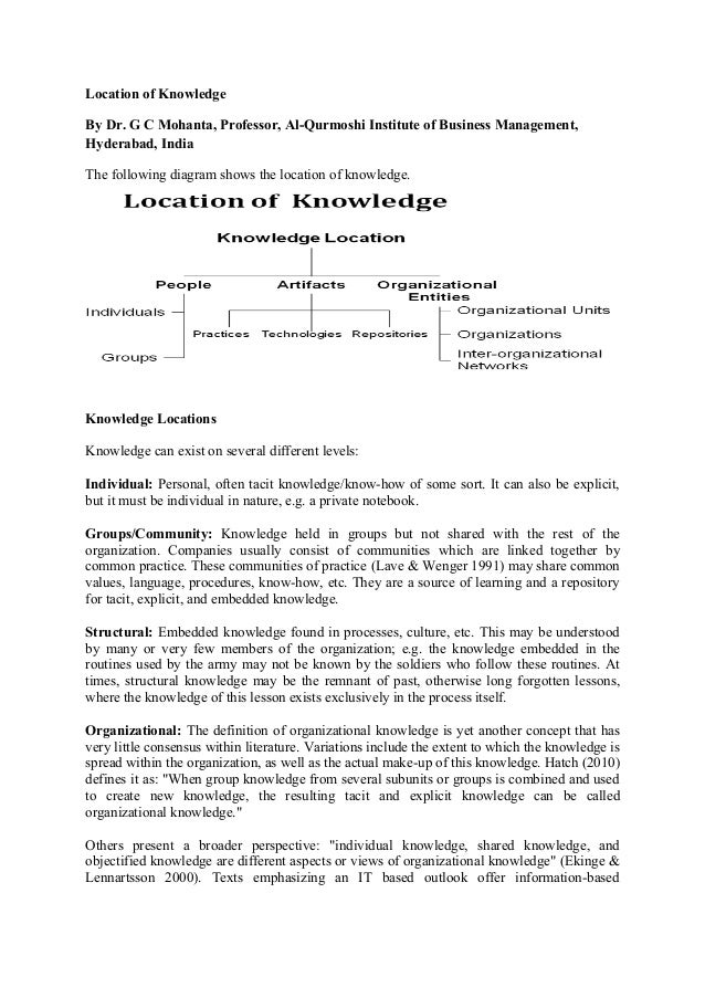 Location of Knowledge By Dr. G C Mohanta, Professor, Al-Qurmoshi Institute of Business Management, Hyderabad, India The fo...