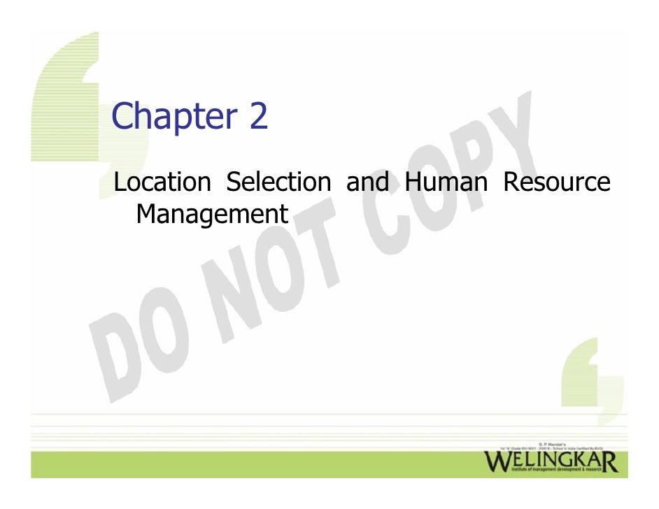 Chapter 2Location Selection and Human Resource  Management