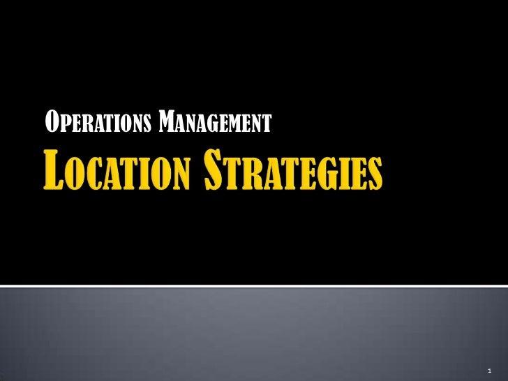 Location Strategies