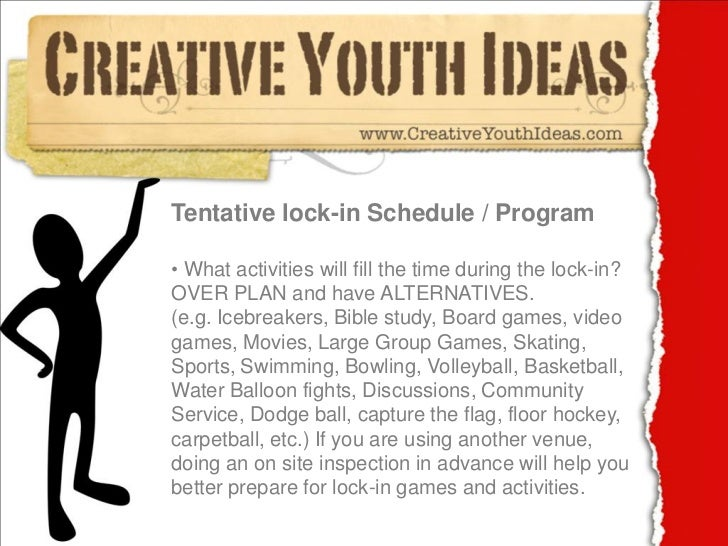 Youth Ministry Calendar Ideas : Youth ministry ideas lock in checklist