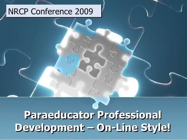 Paraeducator Professional Development: On-Line Style!