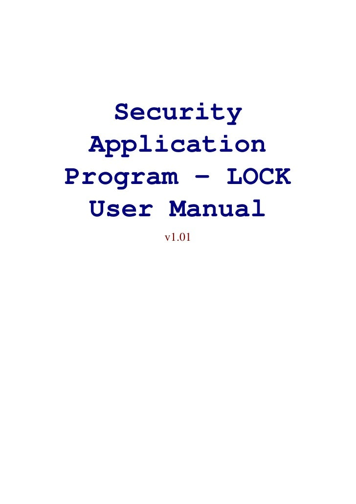 Security  ApplicationProgram - LOCK  User Manual      v1.01
