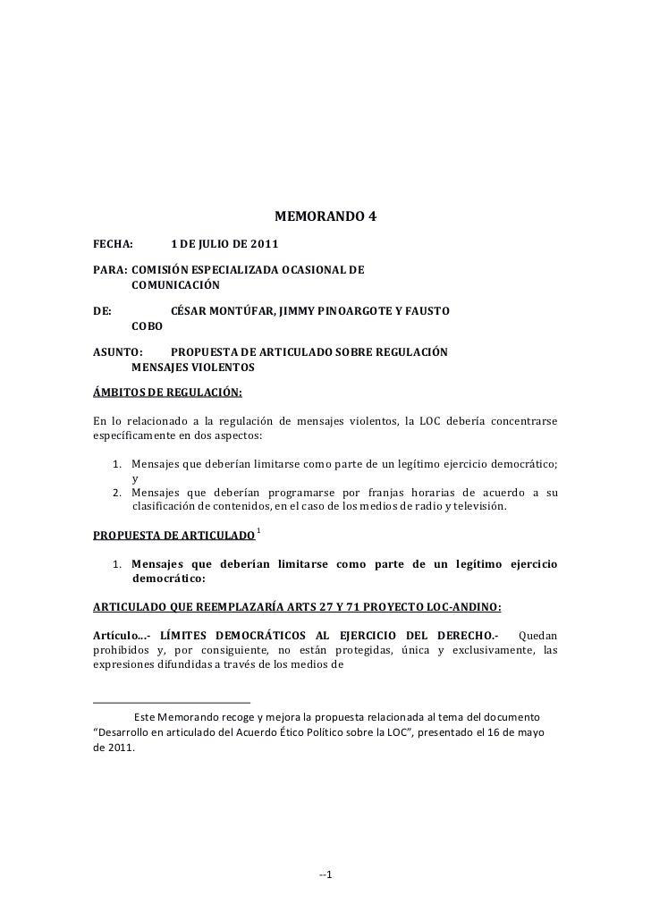PROPUESTA DE ARTICULADO SOBRE REGULACIÓN MENSAJES VIOLENTOS, Memorando 4