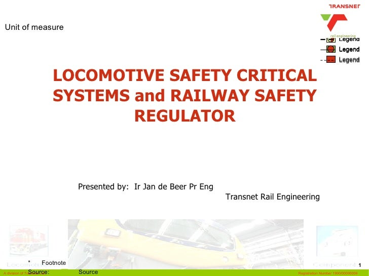 LOCOMOTIVE SAFETY CRITICAL SYSTEMS and RAILWAY SAFETY REGULATOR Presented by:  Ir Jan de Beer Pr Eng  Transnet Rail Engine...