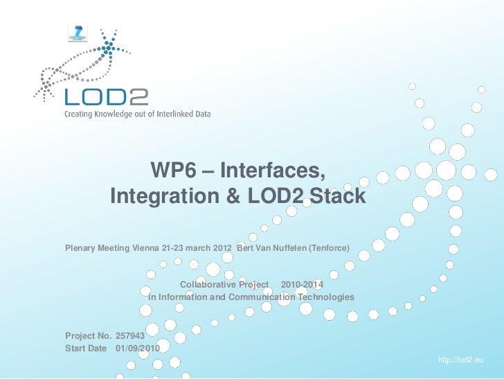 LOD2 Plenary Vienna 2012: WP6 - Interfaces, Integration & LOD2 Stack