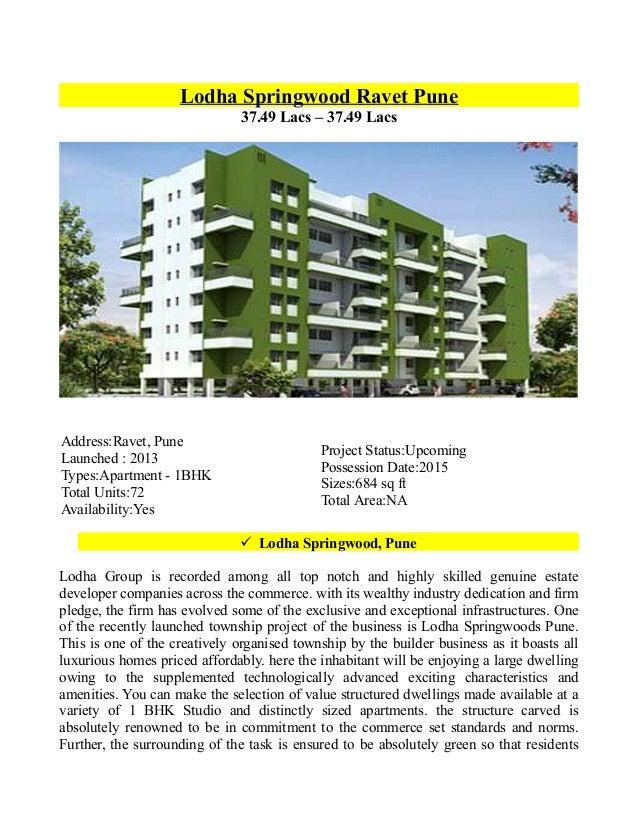 Lodha Springwoods Pune - A superlative destination to buy Dream Home