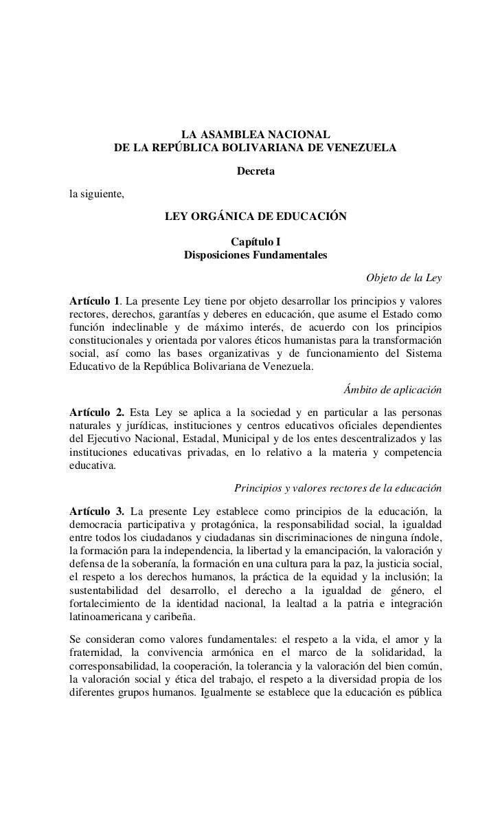 Ley Orgánica de Educación (2009)