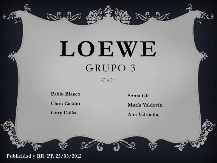LOEWE                                  GRUPO 3                  Pablo Blasco         Sonia Gil                  Clara Cast...
