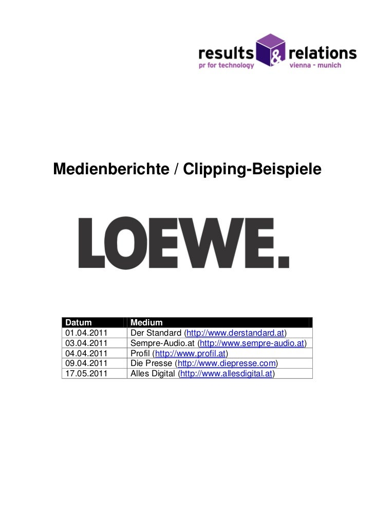 Loewe Presseclippings Österreich, 1. HJ/2011