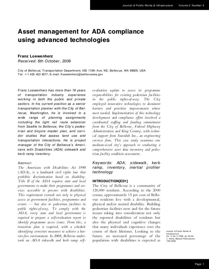 Journal of Public Works & Infrastructure      Volume 2 Number 3Asset management for ADA complianceusing advanced technolog...