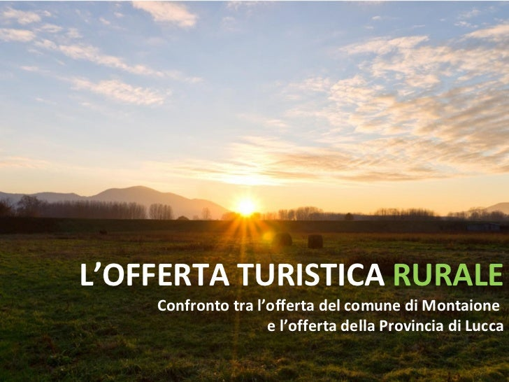L'OFFERTA TURISTICA  RURALE Confronto tra l'offerta del comune di Montaione  e l'offerta della Provincia di Lucca