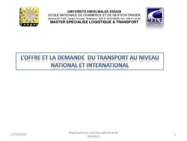 UNIVERSITÉ ABDELMALEK ESSADI ECOLE NATIONALE DE COMMERCE ET DE GESTION TANGER Adresse BP 1255, Tanger Principal, Téléphone...