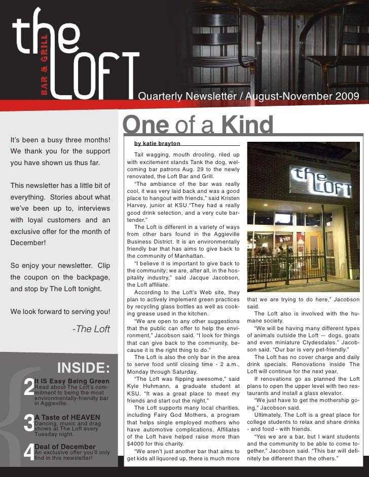 Loft Newsletter