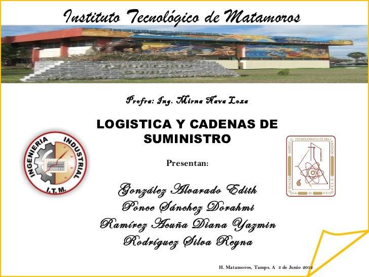 Instituto Tecnológico de Matamoros         Profra: Ing. Mirna Nava Loza    LOGISTICA Y CADENAS DE          SUMINISTRO     ...