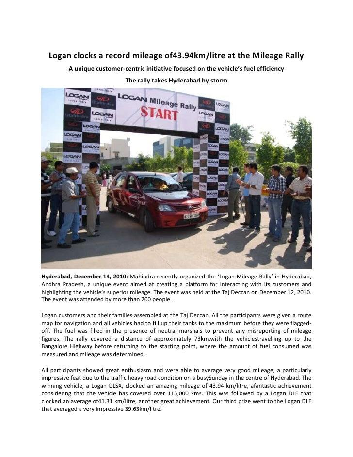Logan clocks a record mileage of 43.94km/litre at the Mileage Rally<br />A unique customer-centric initiative focused on t...