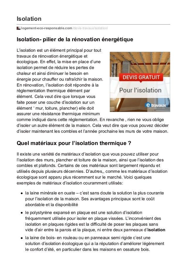 Isolation  logement-eco-responsable.com /devis-travaux/isolation/  Isolation- pilier de la rénovation énergétique  L'isola...