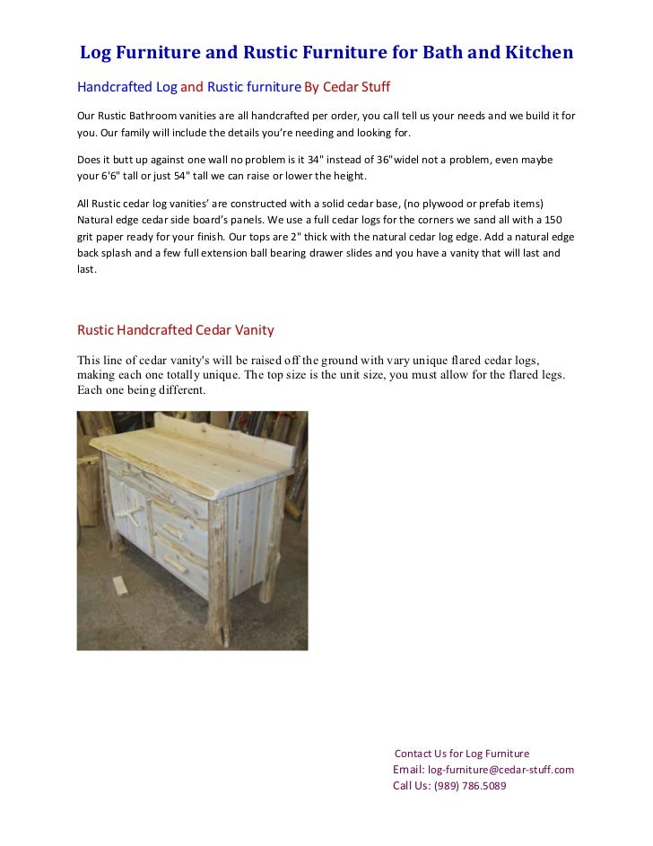 Log Furniture and Rustic Furniture for Bath and KitchenHandcrafted Log and Rustic furniture By Cedar StuffOur Rustic Bathr...