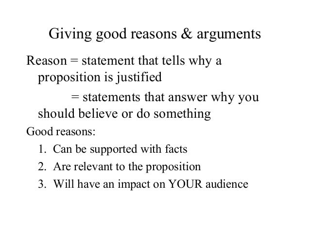 Reason statement