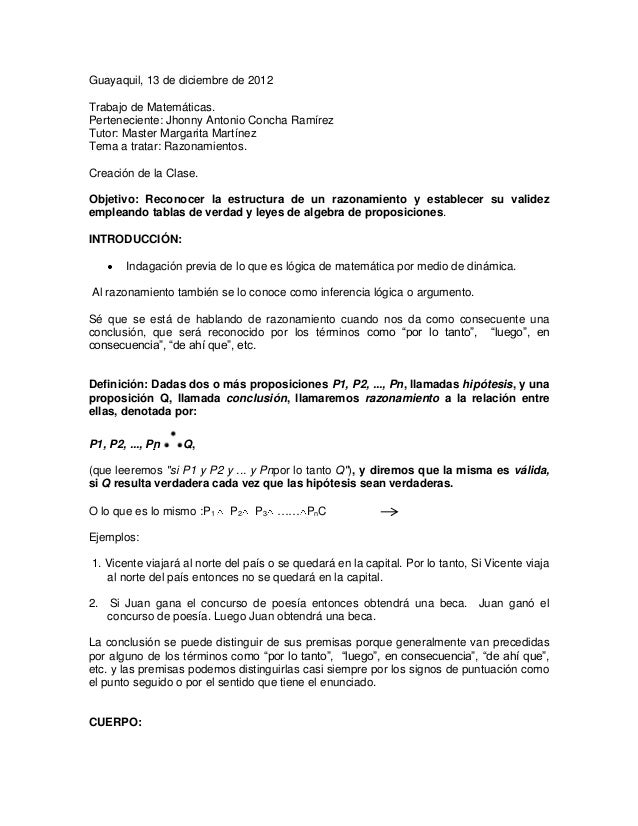 Guayaquil, 13 de diciembre de 2012Trabajo de Matemáticas.Perteneciente: Jhonny Antonio Concha RamírezTutor: Master Margari...