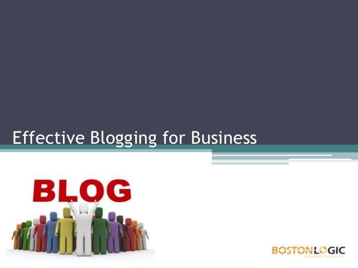 Logic Classroom Blogging Presentation