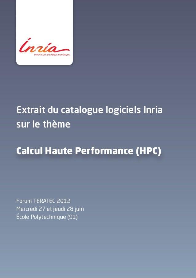 Inria - Extrait du catalogue logiciels calcul haute performance (HPC)
