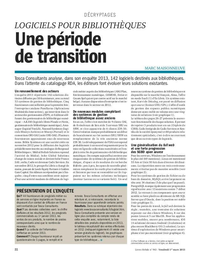 DÉCRYPTAGESLOGICIELS POUR BIBLIOTHÈQUESUne périodede transition                                                           ...