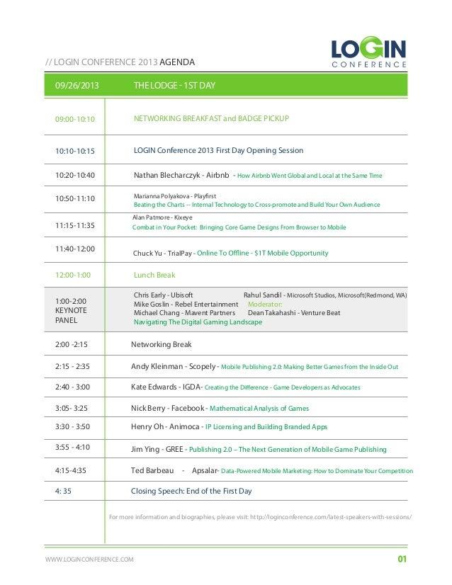 LOGIN Conference 2013 Agenda