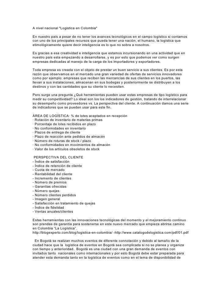 """A nivel nacional """"Logistica en Colombia""""  En nuestro país a pesar de no tener los avances tecnológicos en el campo logísti..."""