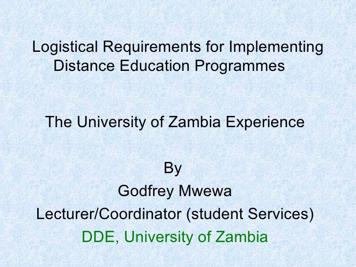 Logistical Needs For Distance Education