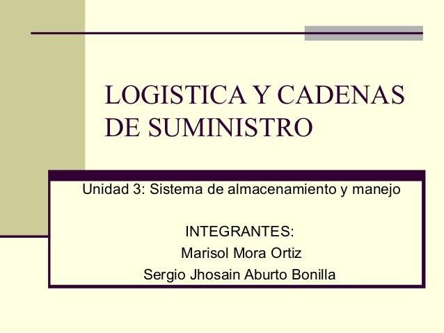 LOGISTICA Y CADENAS DE SUMINISTRO Unidad 3: Sistema de almacenamiento y manejo INTEGRANTES: Marisol Mora Ortiz Sergio Jhos...