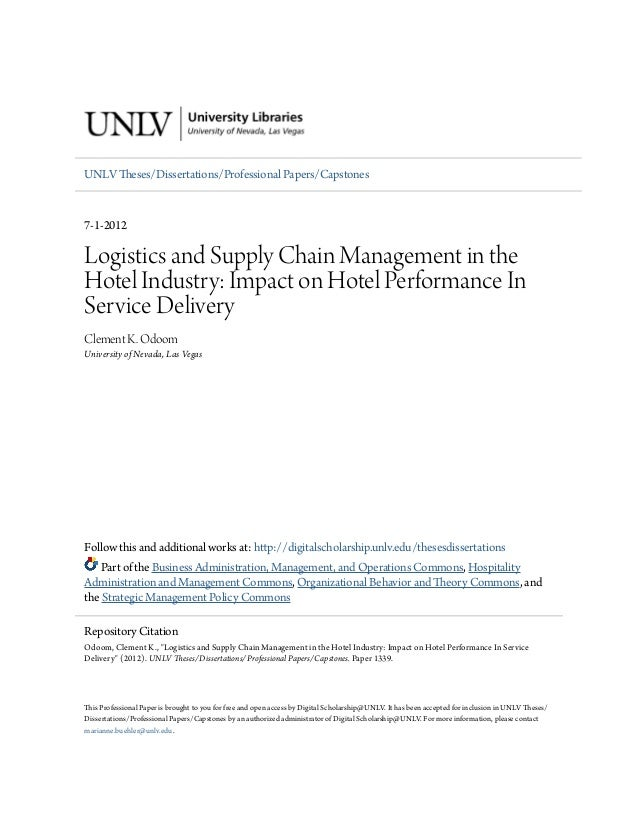 Logistics and supply chain management in the hotel industry  impa