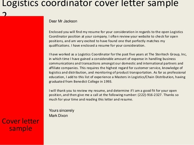 Logistics Controller Cover Letter