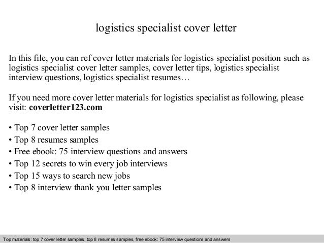 specialist cover letter in this file you can ref cover logistics